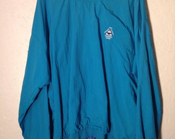 90s Vintage Teal Pullover Windbreaker, Vintage Blue Green Golf Pull Over Sweater, 90s Blue Windbreaker Golf Sweater, Vintage Golf Sweater