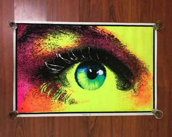1970's Original The eye Black Light Poster Early 70's NEW 22x32""