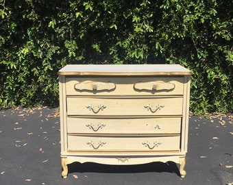 Vintage French Provincial Project White and Gold Petite Dresser Chest of Drawers, Shabby Chic Dresser, White & Gold Small Chest of Drawers