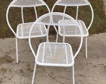 Set of Three (3) White Salterini Patio Chairs by Rid-Jid, Vintage Garden Chairs, Mid Century Modern Hoop Chairs, Outdoor Chair, MCM Chairs