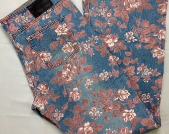 NWOT 90s Vintage Joe Boxer Light Stonewash Denim Pink Rose Pattern Low Rise Bell Bottom Flare Leg Jeans Juniors 13, Flower Print Bell Bottom