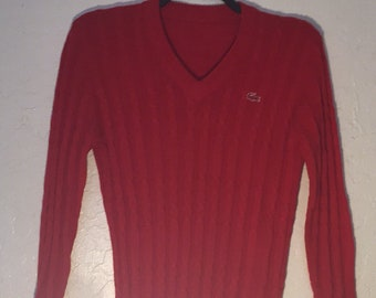 Vintage Lacoste V Neck Sweater, Red Alligator Cable Knit Pull Over Sweater, Vintage Preppy Sweater