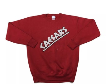 RARE 80s Vintage Caesars Palace Las Vegas Casino Red Crew Neck Pullover Sweatshirt Large, 80s Vintage Crewneck, 80s Vintage Sweatshirt L