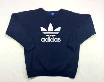 90s Vintage Adidas Trefoil Big Logo Navy Blue Oversized Crewneck Pullover Sweatshirt XL, 90s Streetwear, Hip Hop Fashion, Vintage Big Logo