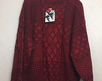 NWT 90s Vintage Plus Size Red & Black Geometric Pattern Pull Over Sweater by Todays News, 80s New Old Stock Red Grandma Sweater