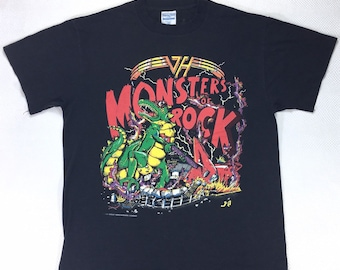 RARE 1988 Vintage Van Halen Monsters of Rock Tour Tee Shirt Large, 80s Band Shirt, Vintage Band Shirt, Vintage Rock Tee, 80s Rock Tee
