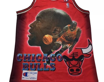 RARE 90s Vintage Chicago Bulls Michael Jordan #23 All Over Graphic Champion Jersey Small, Vintage Jordan Jersey, 90s Bulls Jordan Jersey S