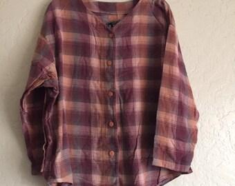 90s Vintage Latte Sport Plaid Oversized Flannel ButtonUp Shirt, Authentic Design Latte Created for Comfort, 90s Streetwear, 90s Hip Hop