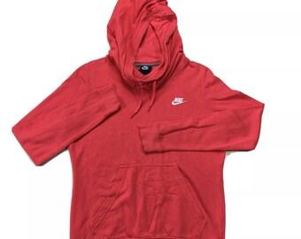 90s Vintage NIKE Black Tag Pullover Hoodie Lightweight Sweatshirt Coral Pink Medium, Y2K Nike Pullover M, Vintage Nike Womens Sweatshirt M