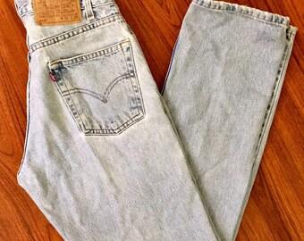 90s Vintage Levis 505 Jeans 30 x 30, Stone Wash Levis, High Waisted Levis, Straight Fit Levis, Tapered Leg Levis, 90s Vintage Mom Jeans 4