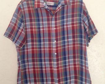 Vintage Mens Blue Red Plaid Short Sleeve Button Up Dress Shirt, Mens Plaid Short Sleeve Button down, Vintage Short Sleeve Oxford Shirt