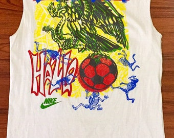 90s Vintage NIKE x 1994 Mexico World Cup Distressed Tank Top XL, 1994 Mexico Futbol Soccer World Cup Shirt, Mexico Day Dead Skeleton Soccer