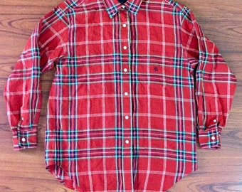 NWOT Vintage Ralph Lauren Linen Red Green Plaid Button Down Long Sleeve Shirt Large, Christmas Plaid Button Up, Woman Holiday Plaid Blouse L