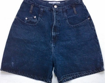 "90s Vintage Anchor Blue High Waisted Mom Jean Shorts Dark Blue Wash Denim Junior 9, Mom Jeans Shorts 26"", 90s High Waisted Jean Shorts 9"