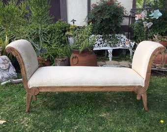 Vintage French Provincial Upholstered Bench, Hollywood Regency Bed Foot Board Bench, Shabby Chic Bedroom Boudoir Chair, Window Bench, Vanity
