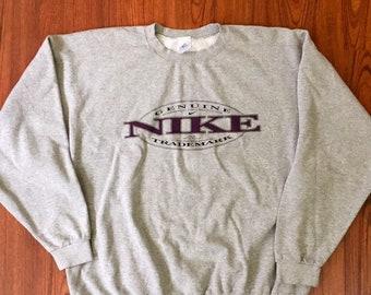 90s Vintage Big Logo NIKE Swoosh Grey Burgandy Pullover Sweatshirt XL, Hypebeast Clothing, 90s Streetwear, Nike Vintage, Nike Sweatshirt XL