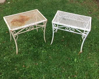 Vintage White Wrought Iron Rustic Shabby Chic Patio Side Table, Vintage Rustic Wrought Iron  Ottoman, Vintage Shabby Chic Garden End Tables