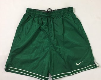 NWOT 90s Vintage Nike Green White Double Striped Satin Silky Glanz Soccer Shorts Mens Small, 90s Vintage Nike Wet Look Nylon Athletic Shorts
