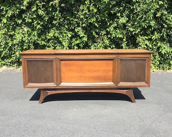 Mid Century Danish Modern GE C524K Solid State Stereo Record Player Console, MCM Low Profile Stereo Credenza, Mid Century Dark Walnut Stereo