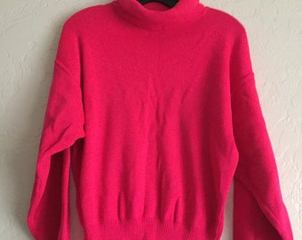 90s Vintage Bright Hot Pink Turtle Neck Knit Sweater