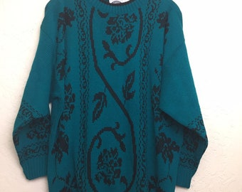 NWOT 90s Vintage Emerald Green Floral Pattern Oversized Pull Over Sweater by Classic Essentials, 80s Green Grandma Sweater, New Old Stock