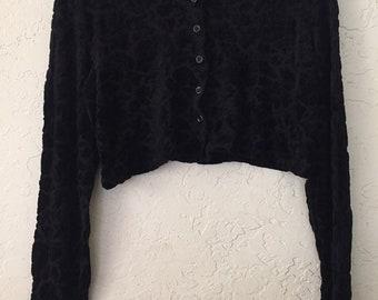 90s Vintage Black Velvet Flower Brocade on Black Lace Button Up Crop Top