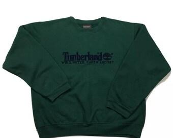 90s Vintage Timberland Big Logo Four 4 Elements Forrest Green Crewneck Pullover Sweatshirt L, Timberland Crewneck, 90s Vintage Sweatshirt