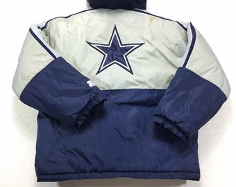 90s Vintage Starter Dallas Cowboys Hooded Puffer Coat, Vintage Starter Jacket, Vintage Dallas Cowboys Jacket, 90s Dallas Cowboys Jacket YL
