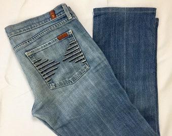 Y2K Vintage 7 For All ManKind Colette Medium Wash Denim Low Rise Flare Leg Jeans 31, Vintage Seven For All ManKind Premium Denim Jeans 12