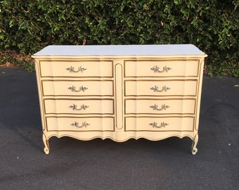 Vintage French Provincial Beige & Gold Double Dresser Chest of Drawers by Dixie, Shabby Chic Dresser, French Chest Drawers, Farmhouse Chic