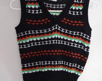 Vintage 80s Preppy Sweater Vest, V Neck Sweater Vest, 80s Sweater Vest, Acrylic Sweater Vest, Unisex Sweater Vest, Preppy Vest, Knit Vest