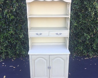 Vintage French Provincial Light Creamy Avocado Green Cabinet with Hutch by Henry Link, Shabby Chic Dresser with Hutch, Small Chest of Drawer