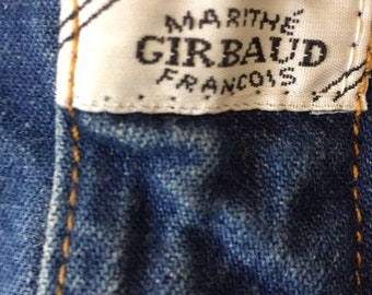 80s Vintage Marithe & Francois Girbaud MFG High Waisted Tapered Ankle Blue Stone Wash Denim Jeans Size 24, 80s MFG Mom Jeans Size 5-6