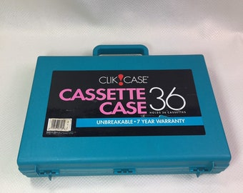 Vintage clik case 36 cassette Tape Storage Box, Cassette Tape Storage Box, Audio Cassette Tape Organizer Storage Box
