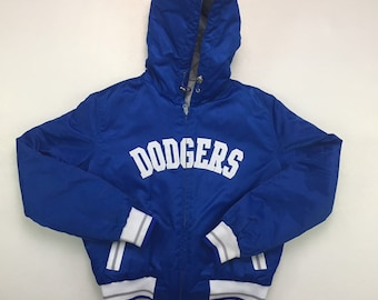 80s Vintage Los Angeles Dodgers Reversible Hooded Zip Up Puffer Jacket Small, 90s Vintage LA Dodgers Baseball Puffy Jacket, 80s LA Dodgers