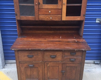 Antique Solid Oak Hoosier Cabinet, Rustic Farmhouse Hutch, Primitive Kitchen Pantry, Vintage Bakers Cupboard, Antique Oak China Buffet Hutch