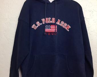 90s Vintage U.S. POLO Assn. Big Logo Crewneck Pullover Hooded Sweatshirt, Oversized Baggy Vintage Streetwear Hoodie Sweater, 90s Polo Hoody