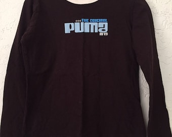 Early 2000s Vintage Puma Big Logo Long Sleeve Baby Tee Shirt, Brown and Cream Old School T Shirt, PUMA Graphic T-Shirt