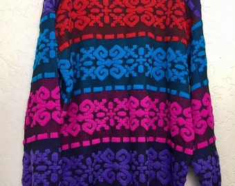 NWT 90s Vintage Bright Winter Geometric Pull Over Sweater by A Jane Adams Plus Size, 80s NWT Grandma Sweater, Vintage Acrylic Knit Sweater