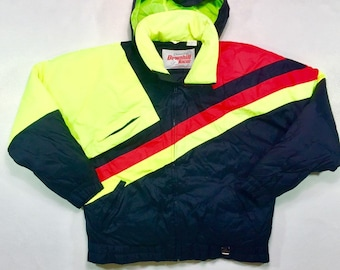 80s Vintage Downhill Racer Down Fill Ski Jacket Neon Yellow Orange Color Block L, Vintage Puffy Jacket L, Vintage Down Filled Jacket Large