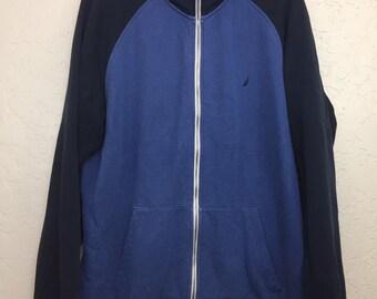 90s Vintage Nautica Blue Color Block Zippered Sweatshirt, Vintage Nautica Blue Colorway Zip Up Sweatshirt, 90s Vintage Streetwear Fit