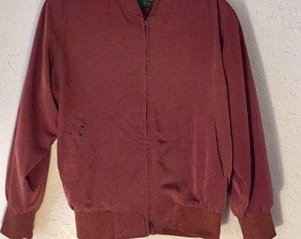 80s Vintage Maroon Silky Windbreaker Jacket, Unisex Vintage Burgandy Light Jacket, Womens Zip up Jacket, Mens Spring Jacket, Vintage Bomber