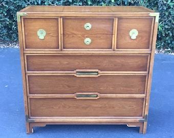 Drexel Mid Century High Boy Dresser, Vintage Campaign Hiboy Dresser, Mid Century Tall Chest of Drawers, Mid Century Bohemian Chest ofDrawers