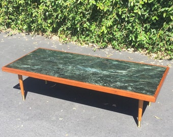 Mid Century Modern Green Marble Long & Low Coffee Table, MCM Coffee Table, Mid Mod Living Room Coffee Table, Mid Century Marble Coffee Table