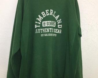 90s Vintage Timberland Big Logo Crewneck Pullover Forrest Green Sweatshirt, Oversized Baggy Vintage Streetwear Sweater, Hip Hop Rap Sweater