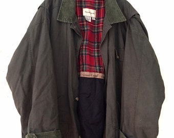 90s Vintage Great Lands Oversized Military Jacket with Red Plaid Flannel Liner, Forest Green Button Up Coat Green Corduroy Collar & Wrists