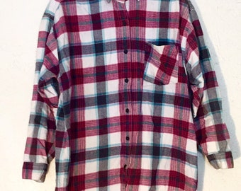 90s Vintage Long Sleeve Flannel Button Down Shirt M, Vintage Long Sleeve Plaid Shirt M, Checkered Button Down M, Flannel Button Up Medium