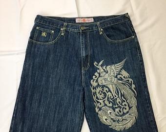 "90s Vintage Hanji Japan Premium Denim  Embroidered Jean Shorts Dark Wash Baggy Oversized Fit 38"", Hip Hop Jean Shorts, 90s Baggy Jean Shorts"