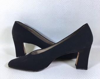 90s Vintage Nine West Black Chunky Heel Pumps 10M, 90s Black Low Stack Heels, Y2K Vintage Square Toe Pumps, 90s Vintage Square Heel Pumps 10