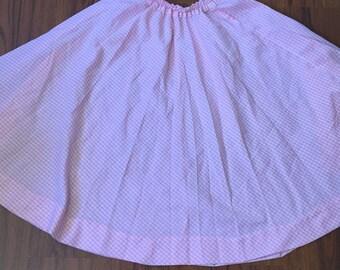 Vintage Pink and White Gingham Swing Skirt, Retro A-line Full Skirt, Knee Length Skirt, High Waist Skirt, Girly Summer Skirt, 50s Vintage